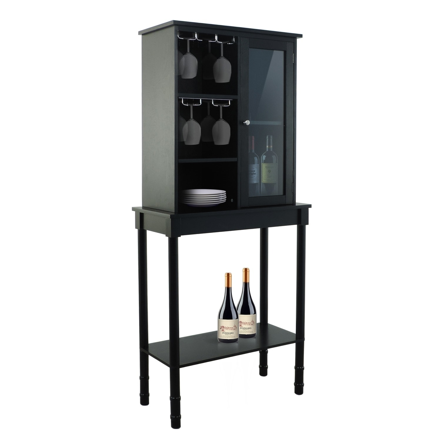 Wood Wine Storage Legacy Home Black Finish Wood Wine Storage Cabinet