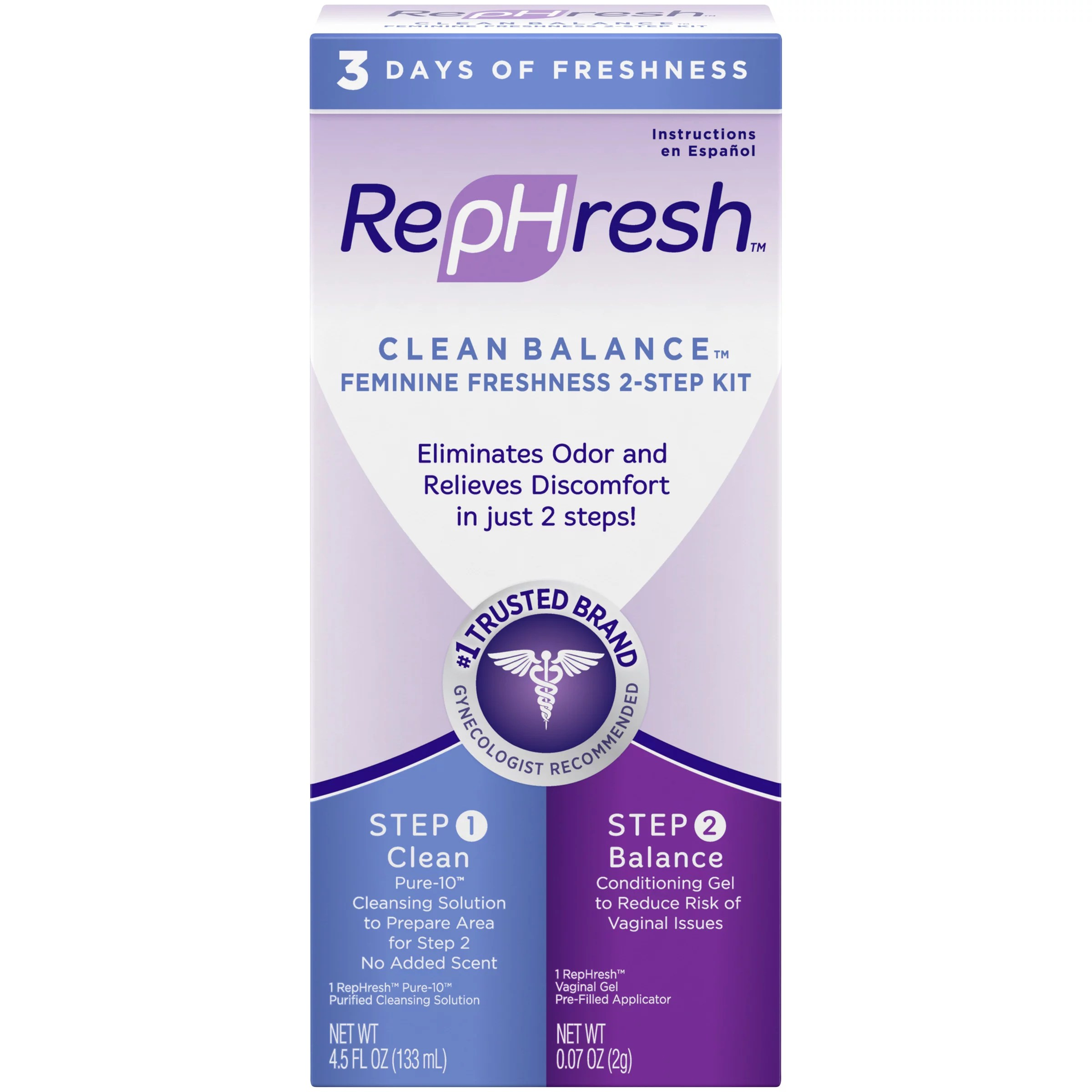 Part Douche Rephresh Clean Balance Feminine Freshness Kit Part 1 Cleans 4 5oz Bottle Part 2 Balances 07 Oz Gel Applicator