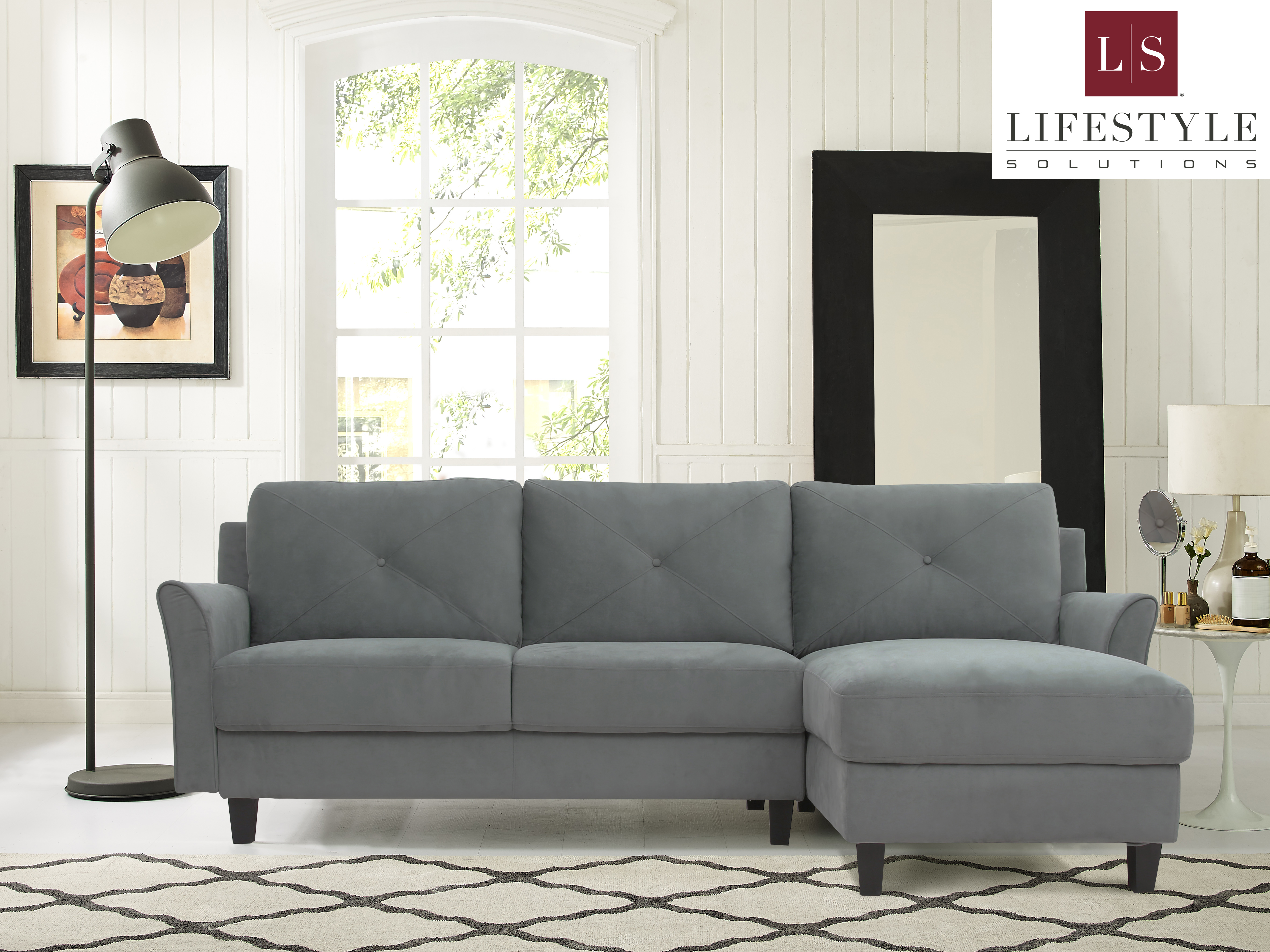 Lifestyle Solutions Taryn 3 Seat Sectional Sofa Upholstered Microfiber Fabric Curved Arms Dark Grey Walmart Com Walmart Com