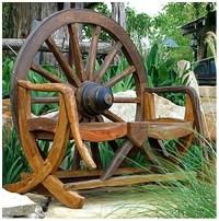 Rustic Wagon Wheel Bench in Teak - Walmart.com