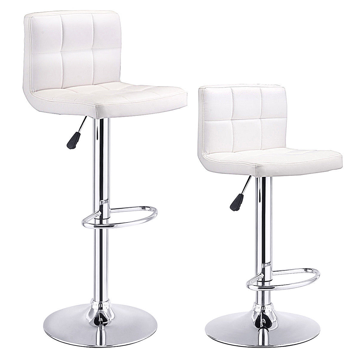 Bar Stool Chairs Costway Set Of 2 Bar Stools Pu Leather Adjustable Barstool Swivel Pub Chairs White