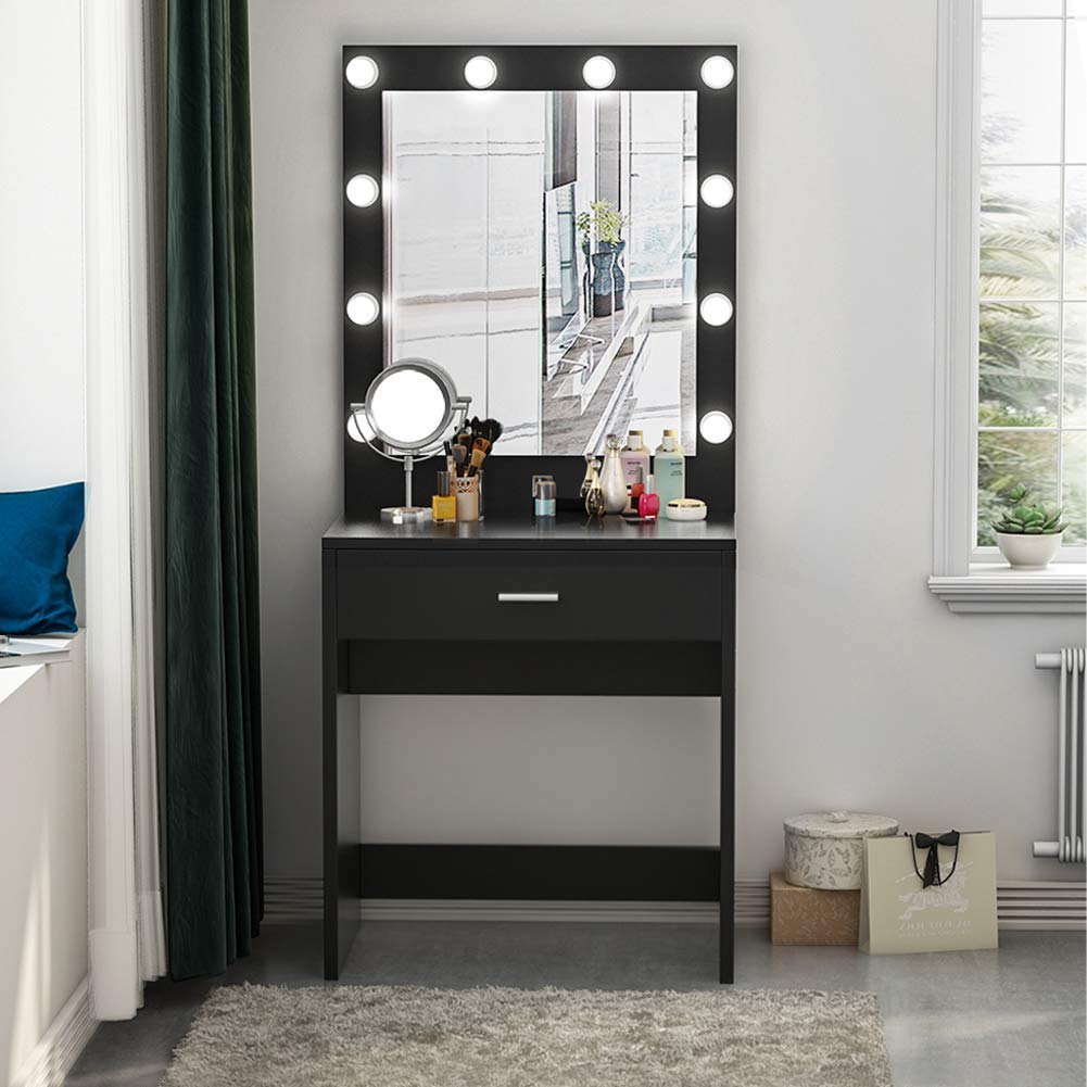 Huge Mirror Tribesigns Vanity Set With Lighted Mirror Makeup Vanity Dressing Table Dresser Desk For Bedroom 10 Cool White Led Bulbs
