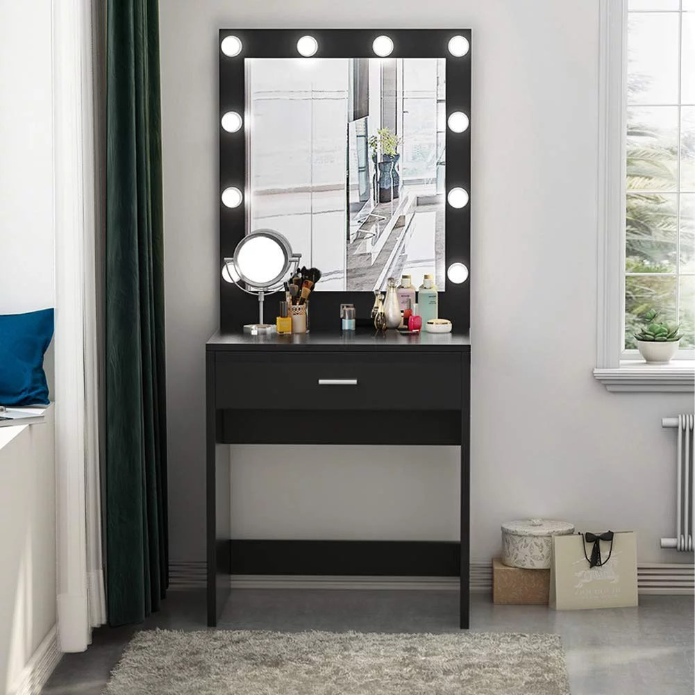 Huge Mirror Tribesigns Vanity Set With Lighted Mirror Makeup Dressing Table Dresser Desk For Bedroom Black 10 Warm Led Bulbs