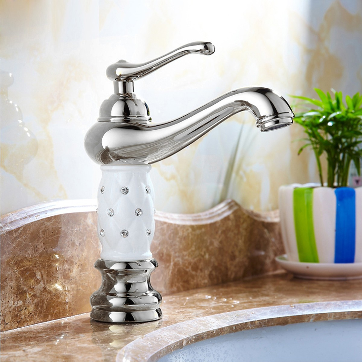 Küche Wasserhahn Landhaus Brass Faucet Mixer Tap Waterfall Brass Finish Single Handle Bathroom Basin Sink