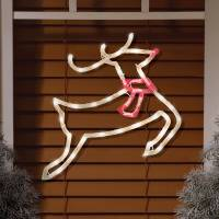 Lighted Reindeer Window Decoration