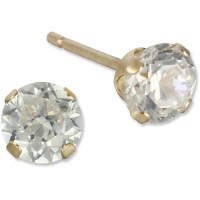 4mm Round CZ 10kt Yellow Gold Stud Earrings - Walmart.com