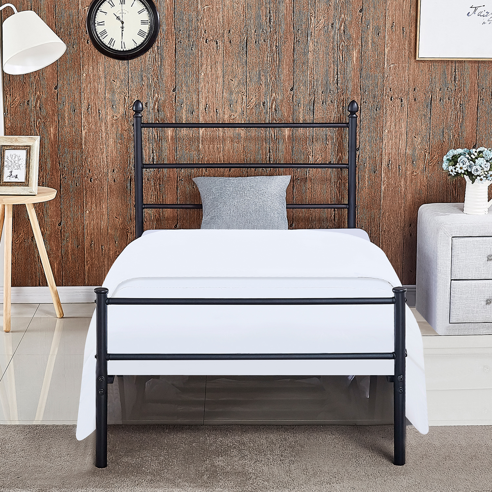 Under Bed Storage Frame Metal Steel Slat Platform Bed Frame Easy Assembly With Under Bed Storage W Headboard Twin Full Queen Size