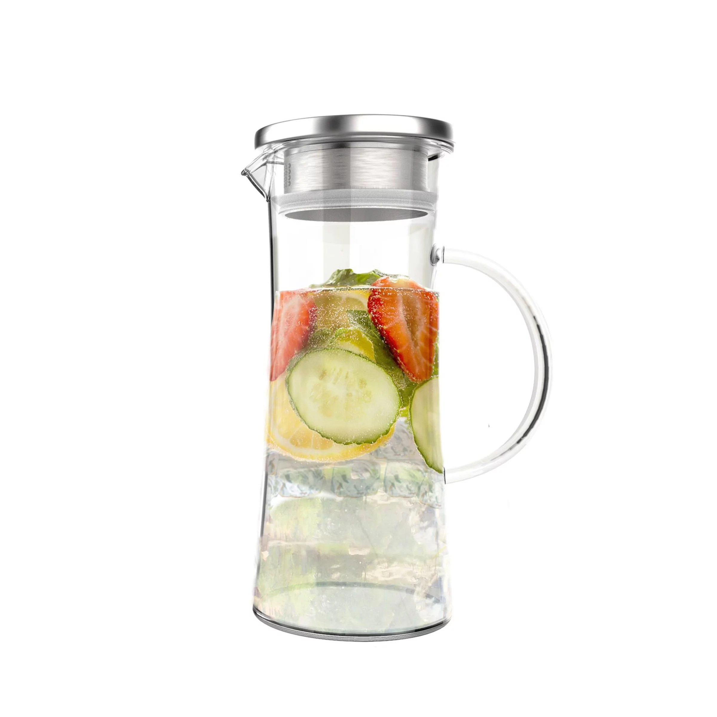 Heat Proof Pitcher Glass Pitcher 50oz Carafe With Stainless Steel Filter Lid