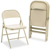 HON Steel Folding Chairs, Light Beige, Without Padded Seat ...