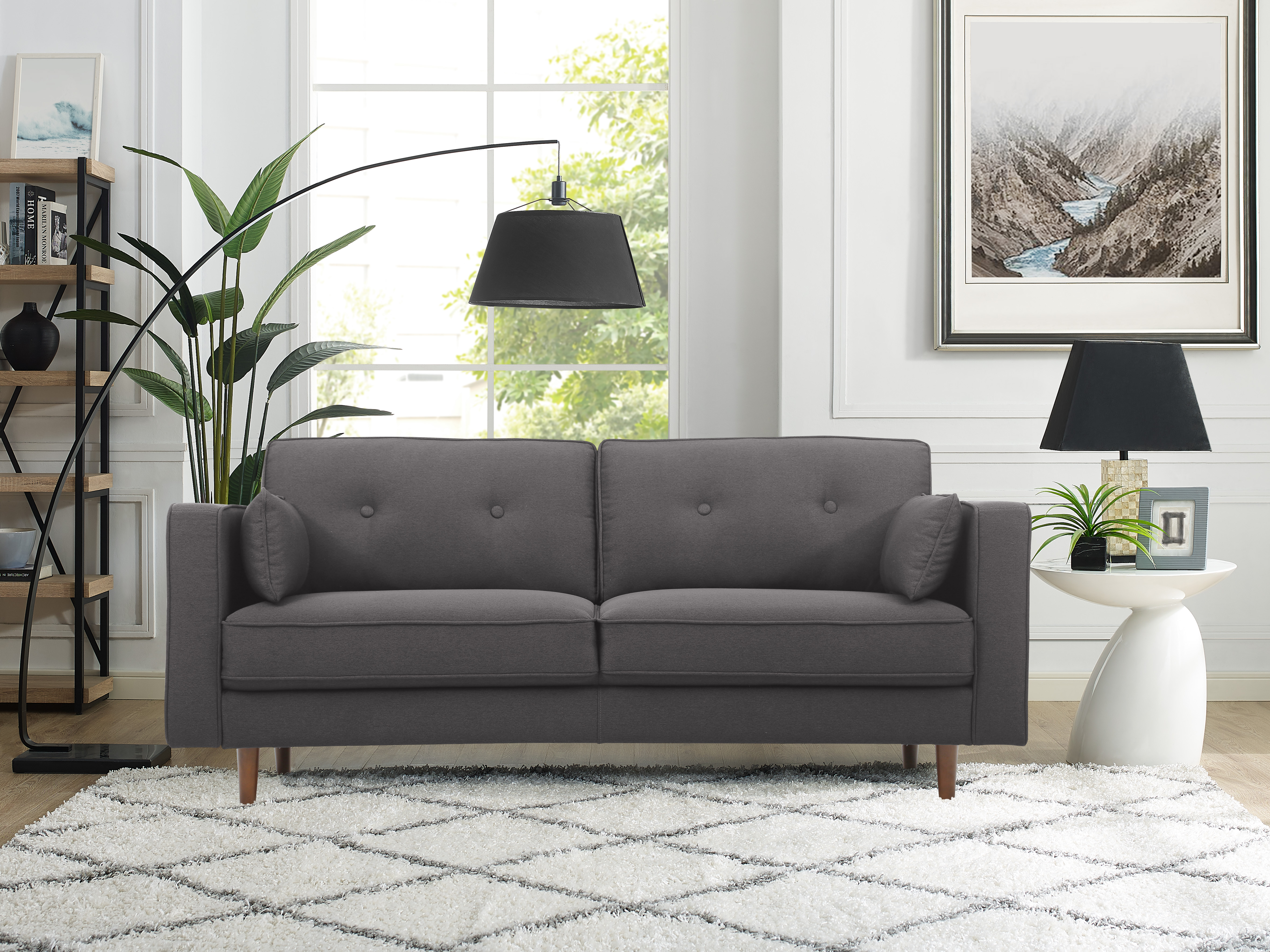 Sofa Tax Japan Lifestyle Solutions Tanany Mid Century Modern Design Upholstery Fabric Sofa Heather Grey