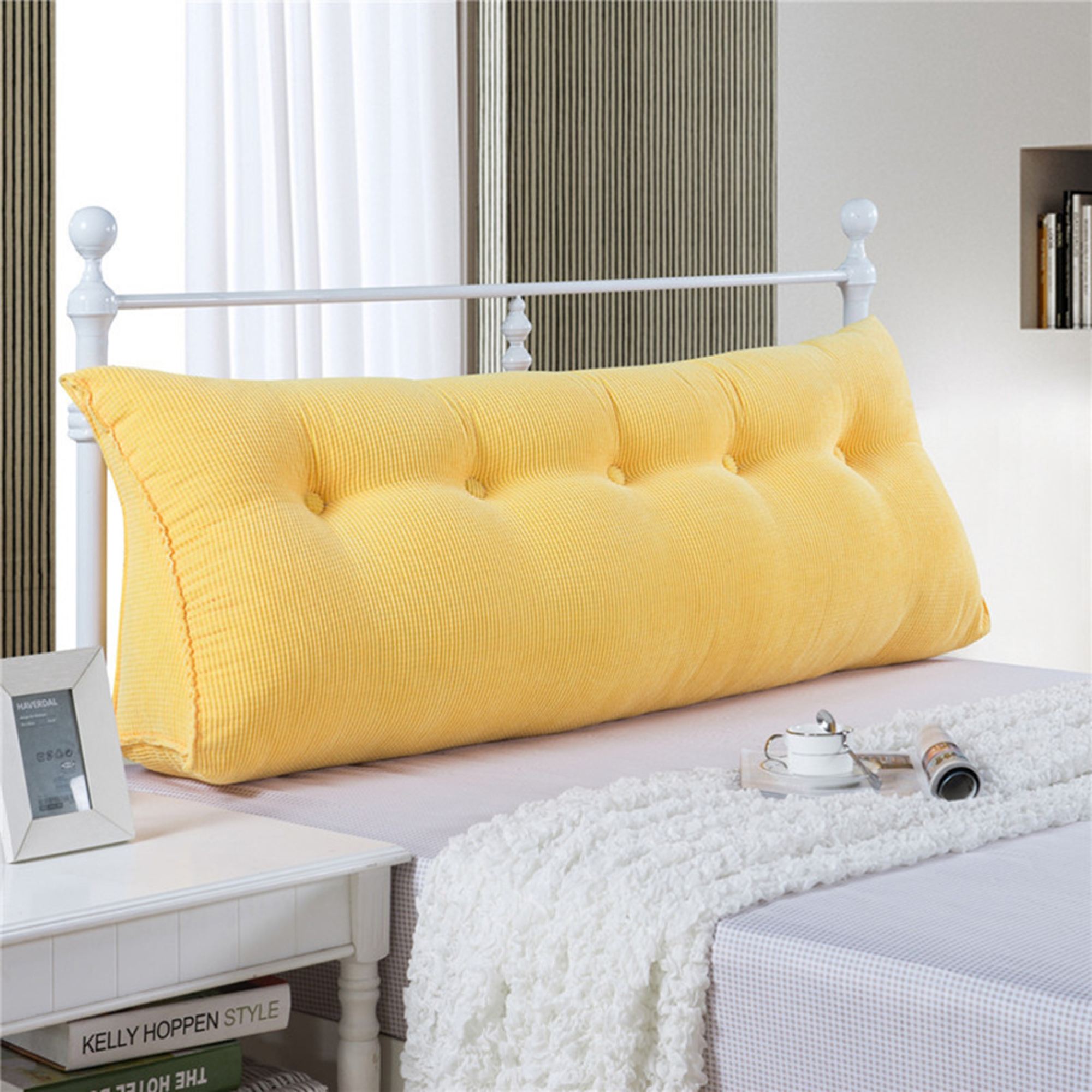 Reading Pillow Bed Sofa Bed Large Filled Triangular Wedge Cushion Bed Backrest Positioning Support Pillow Reading Pillow Office Lumbar Pad With Removable Cover Yellow