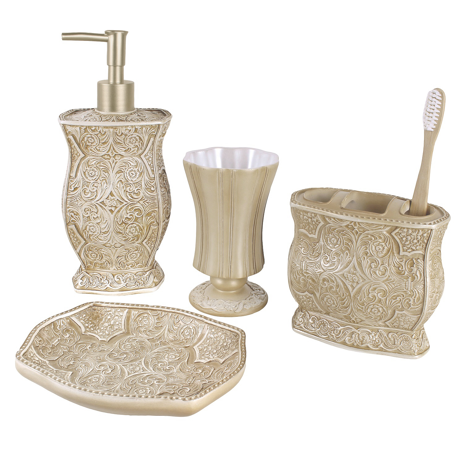 Bathroom Dispenser Set Victoria Bath Ensemble 4 Piece Bathroom Accessories Set Victoria Collection Bath Gift Set Features Soap Dispenser Toothbrush Holder Tumbler Soap