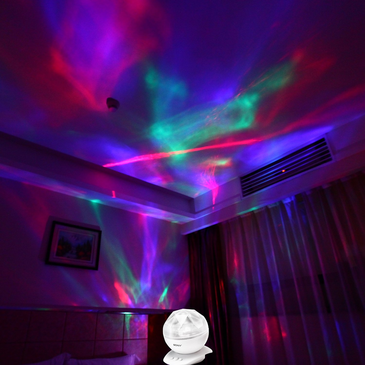 Light Projector Soaiy Led Ocean Wave Night Light Projector Sleep Soothing Color Changing White Noise Machine With 8 Colors Light Show Projection Built In Soft Music
