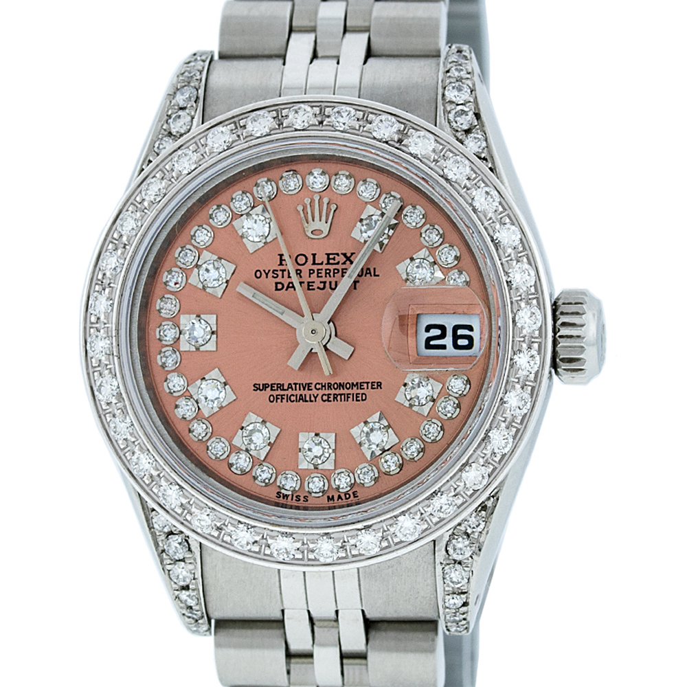 Rolex Ladies Watches Pre Owned Rolex Ladies Datejust Steel 18k White Gold Salmon String Diamond Watch Jubilee Quickset