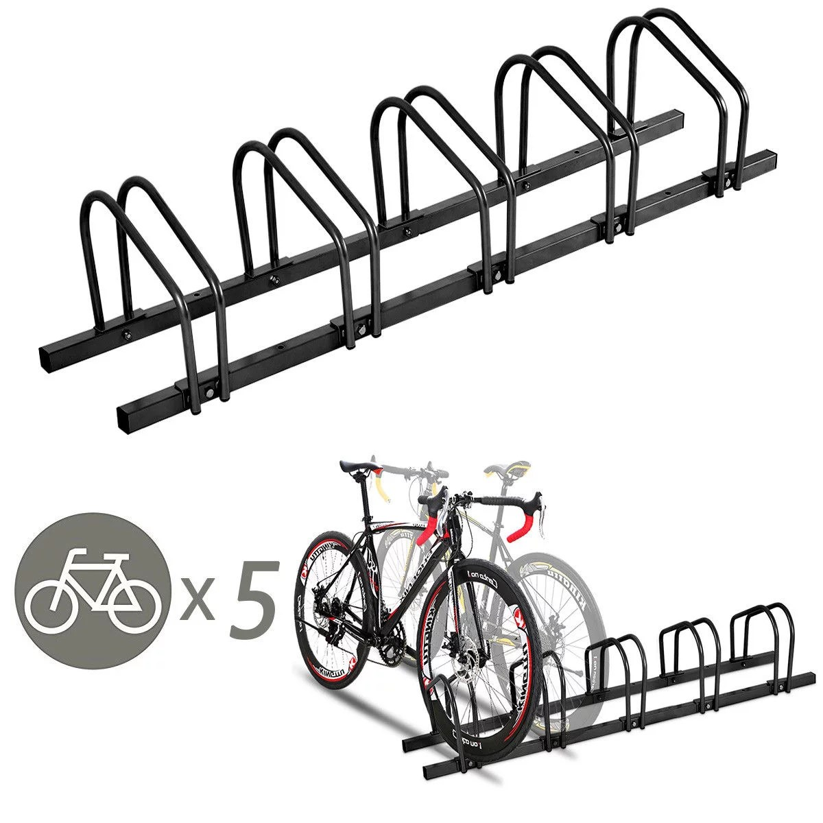 Parking Garage Bike Rack Gymax 5 Bike Bicycle Stand Parking Garage Storage Cycling Rack Black