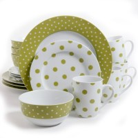 Gibsons Isaac Mizrahi Dot Luxe 16 pc Porcelain Dinnerware ...