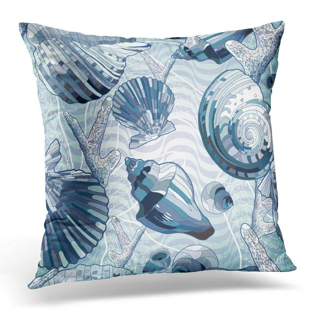 Nautical Sofa Throws Arhome Blue Sea Pattern In Nautical Style With Seashells Wave Throw Pillow Case Pillow Cover Sofa Home Decor 16x16 Inches