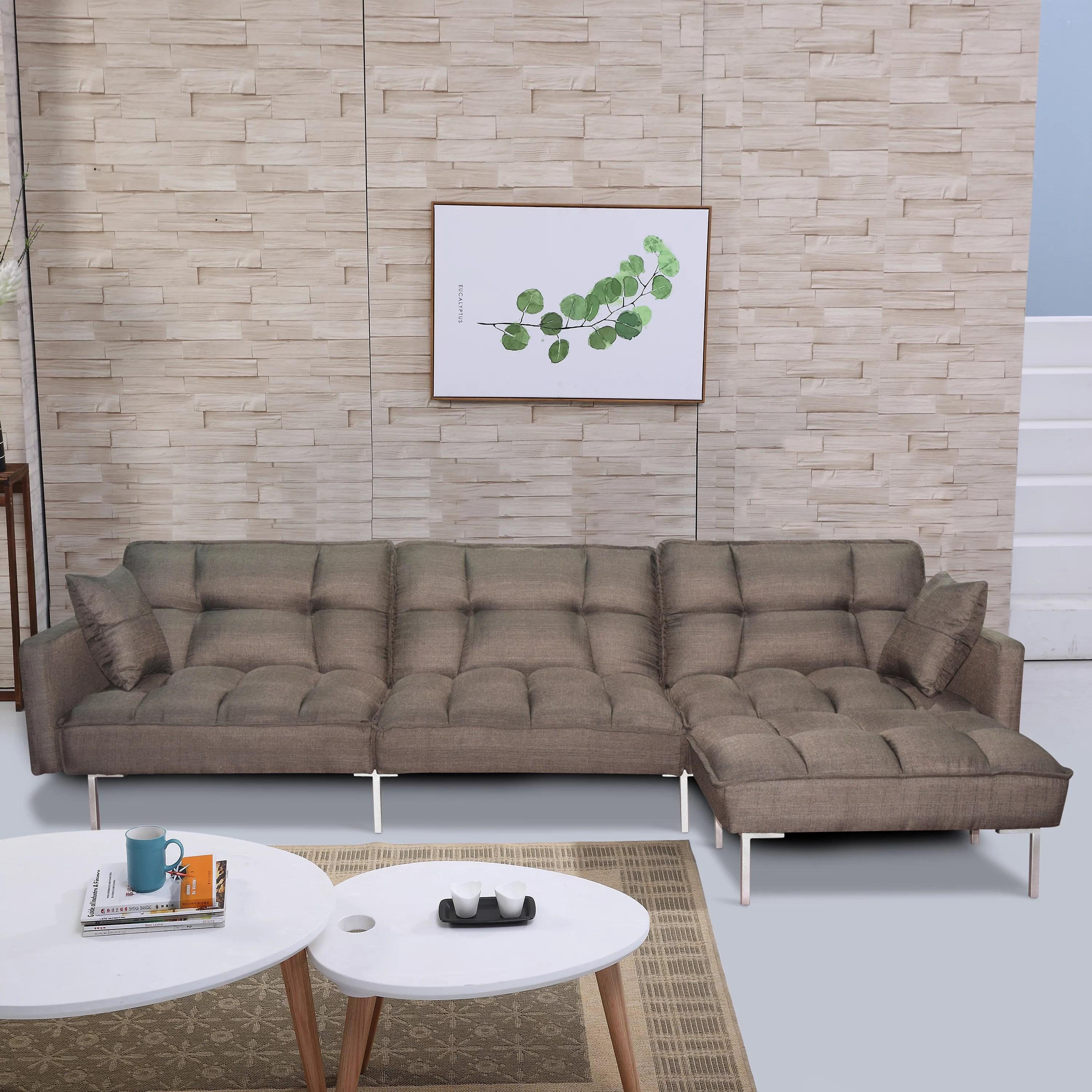 Simple Gray Sofa Bed 109 X 53 X 30 3 Modern Sectional Motion Sofa With Reversible Ottoman Segmart Fabric Sectional Sofas With 2 Pillows And Metal Legs For Living Room 300lbs S8245