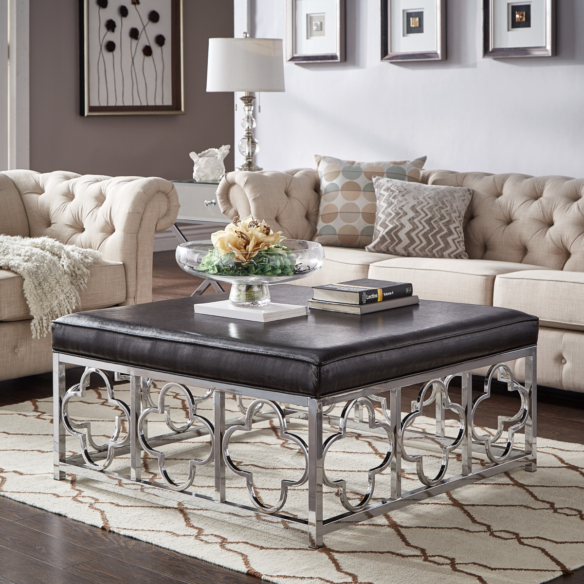 Square Ottoman Coffee Table Weston Home Libby Smooth Top Cushion Chrome Quatrefoil Base Square Ottoman Coffee Table Multiple Colors