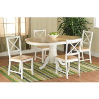 Farmhouse Dining Table, White/Natural - Walmart.com