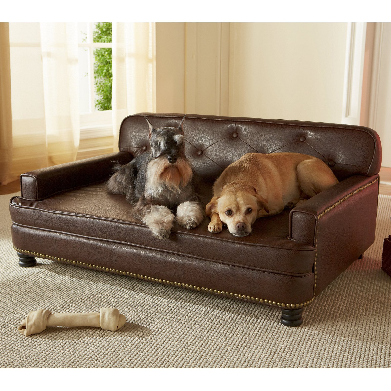 Dog Beds Pet Details About Brown Dog Bed Faux Indoor Leather Raised Pet Sofa Couch Upholstered Cushion Cat