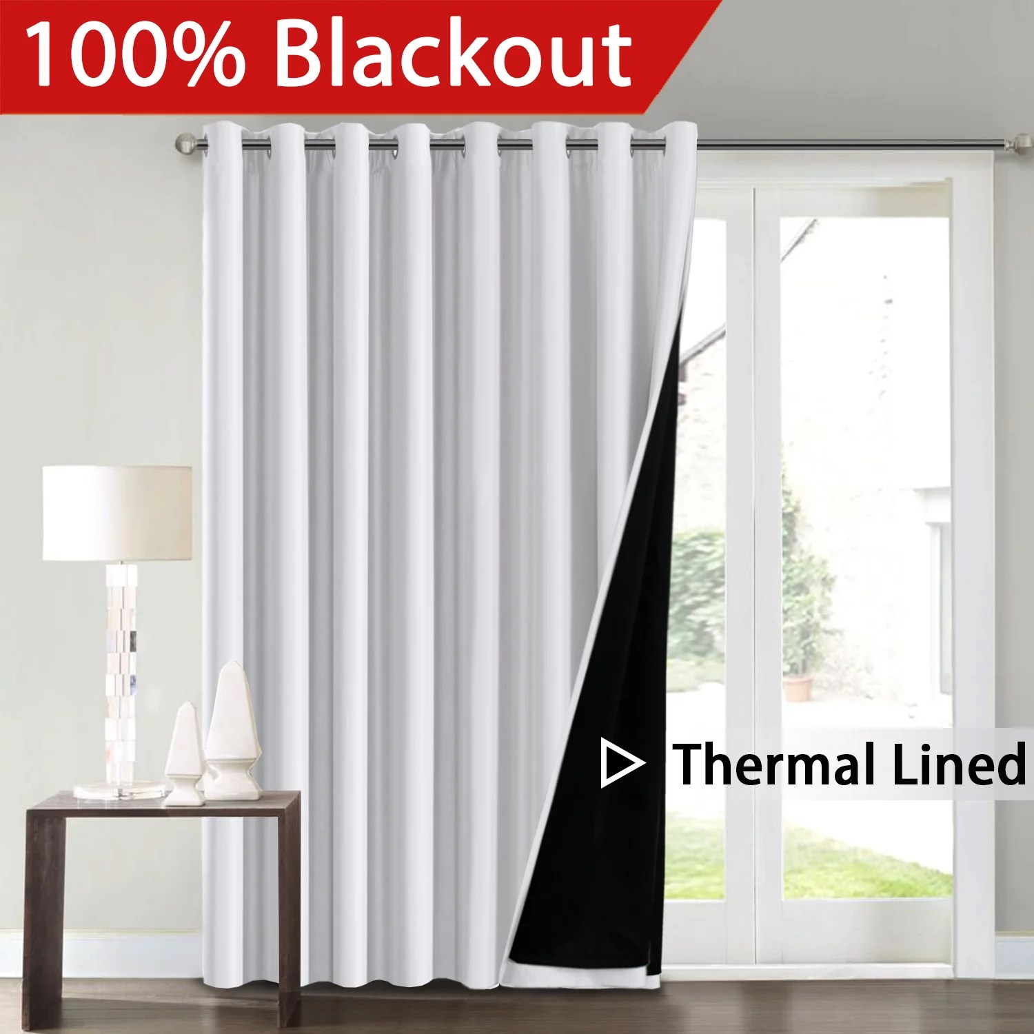 Thermal Patio Door Curtains With Grommets Flamingop Full Blackout White Wide Patio Door Curtains Faux Silk Satin With Black Liner Thermal Insulated Room Divider Window Treatment Panels