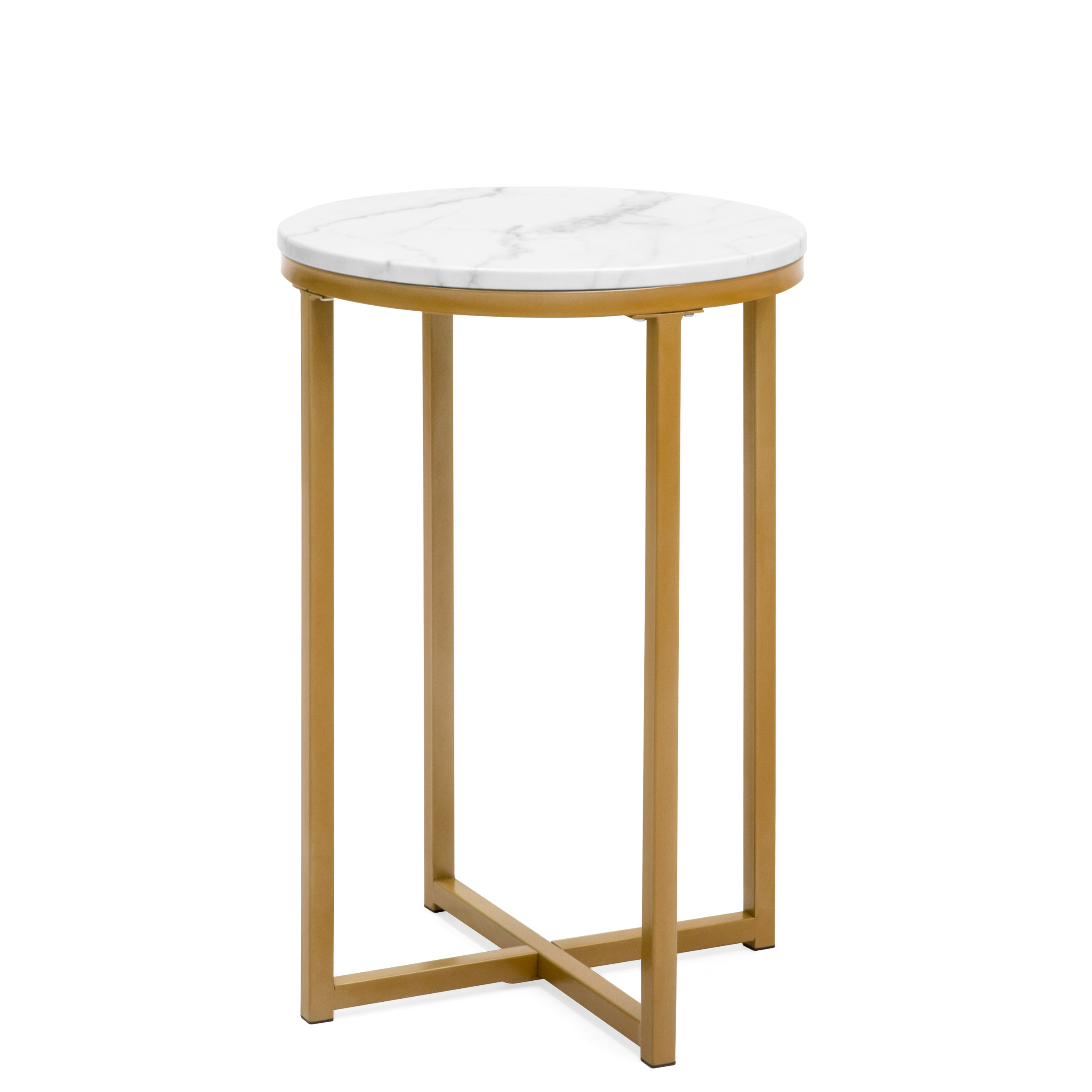 Coffee And Side Tables Best Choice Products 16in Modern Living Room Round Side End Accent Coffee Table Nightstand W Metal Frame Faux Marble Top White Gold