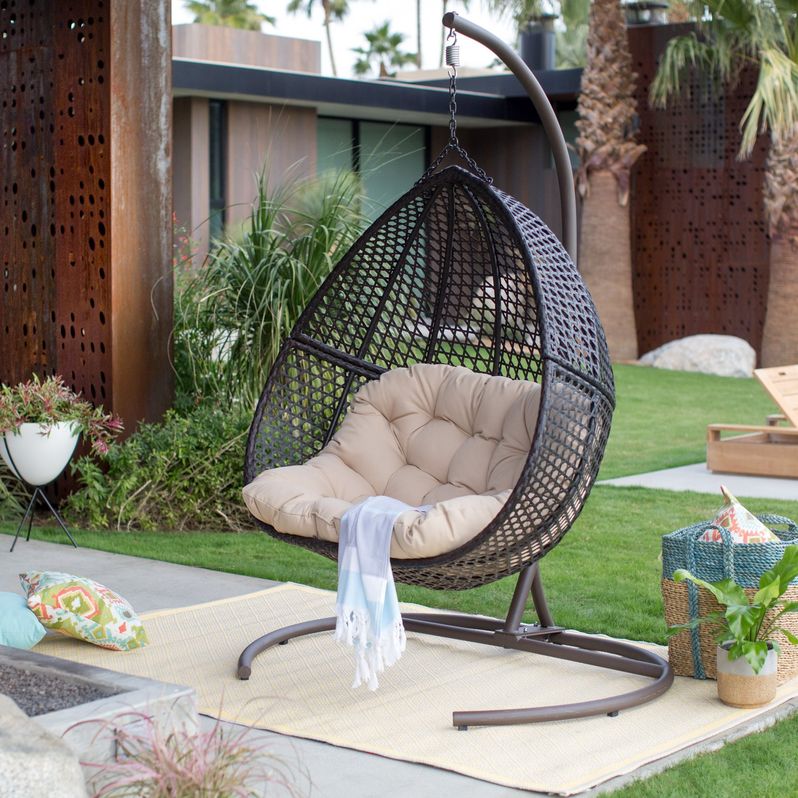 Hanging Outdoor Chairs Belham Living Samos Resin Wicker Hanging Double Egg Chair With Cushion And Stand