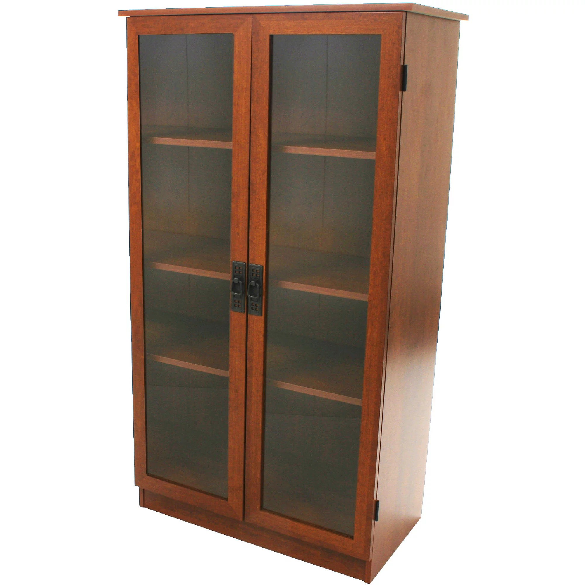 Bookcase Cabinet Details About Bookcase Storage Cabinet 4 Shelves 2 Glass Doors Bookshelf Brown Oak Finish Home