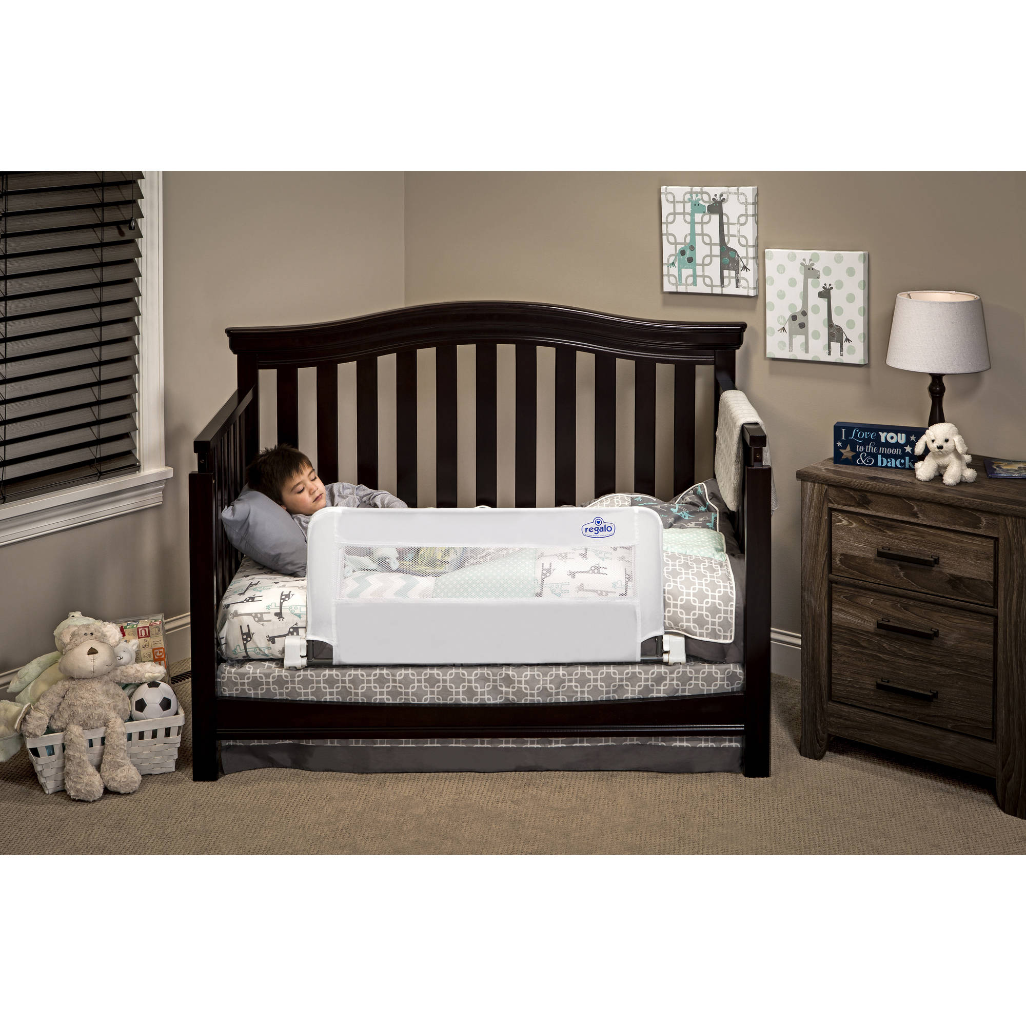 Baby bed gate walmart regalo swing down convertible crib rail 33 inch long and 16