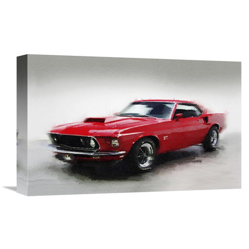 Naxart 1969 Ford Mustang Graphic Art On Wrapped Canvas
