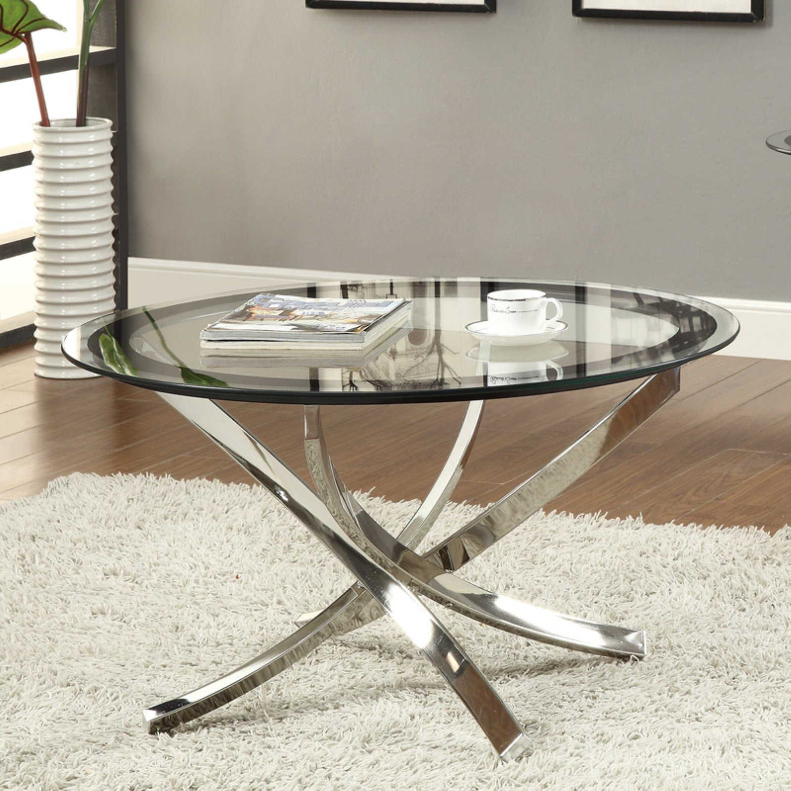 Round Glass Top Coffee Table Coaster Furniture Glass Top Round Coffee Table
