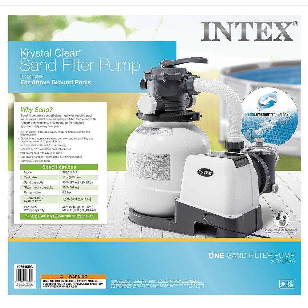 Intex Pool Sandfilterpumpe Volt 220-240 Intex 2 100 Gph Sand Filter Pump Walmart