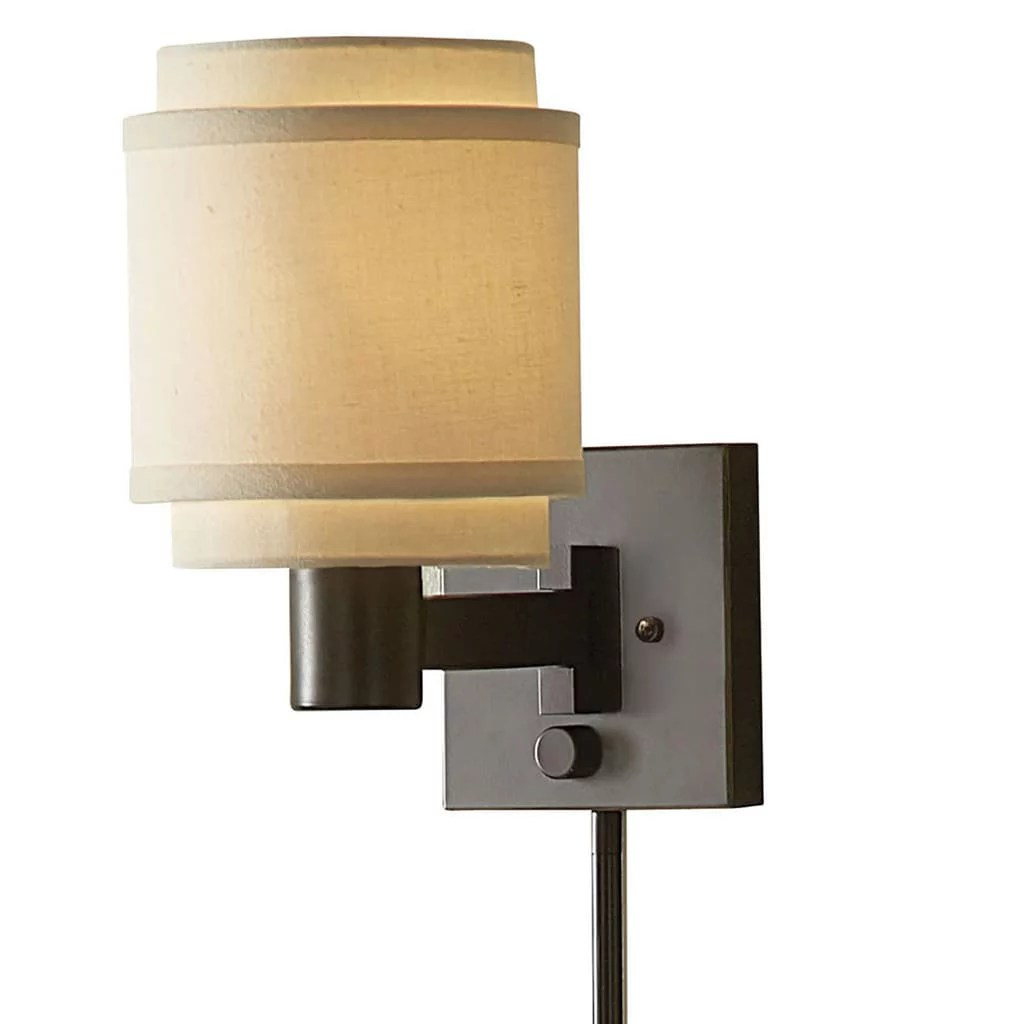 Swing Wall Lamp Aztec Lighting Transitional 1 Light Oil Rubbed Bronze Swing Arm Pin Up Plug In Wall Lamp