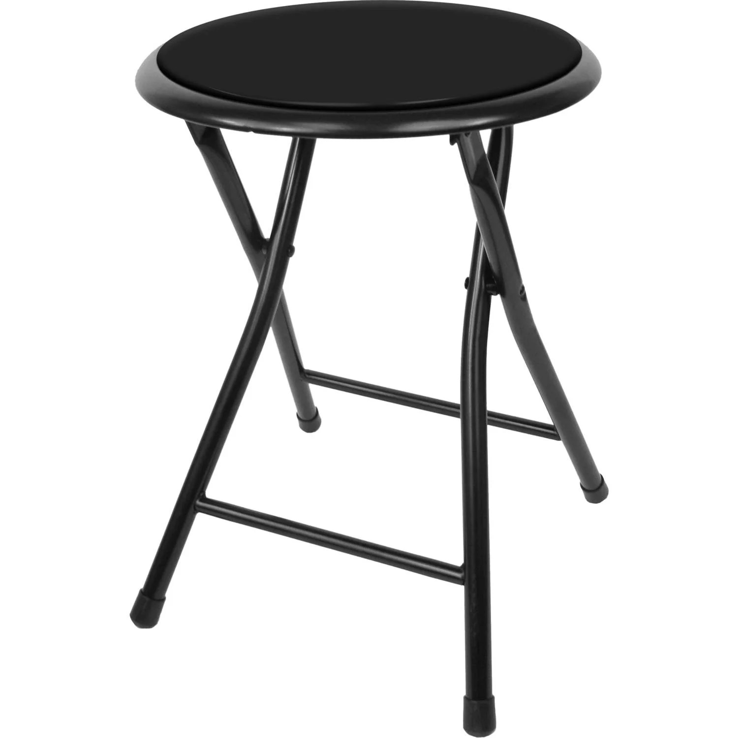 Stool Chair Folding Stool Heavy Duty 18 Inch Collapsible Padded Round Stool With 300 Pound Capacity For Dorm Rec Room Or Gameroom By Trademark Home Black