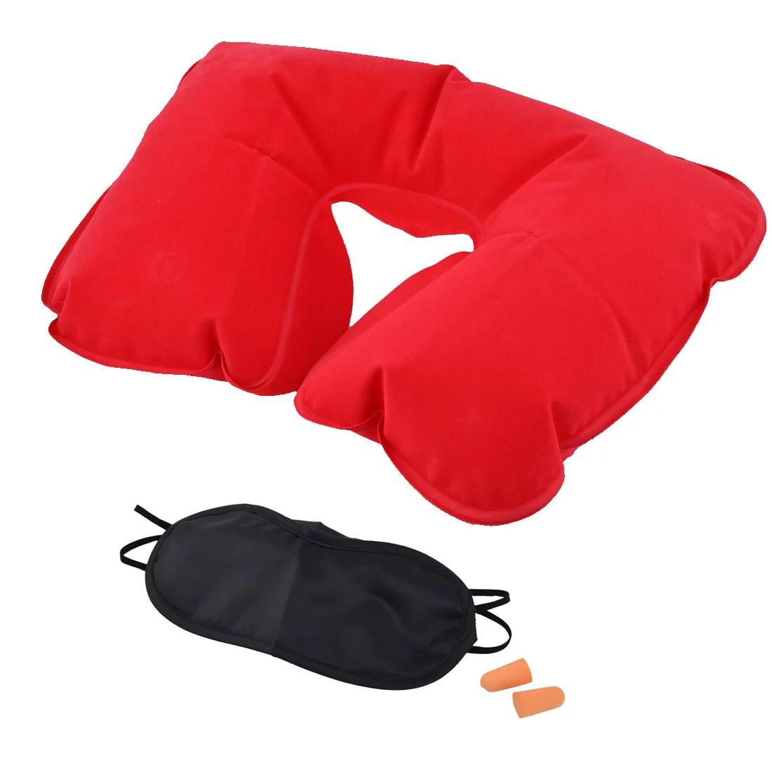 Travel U Shape Pillow Sleep Relax Inflatable Neck Eyes