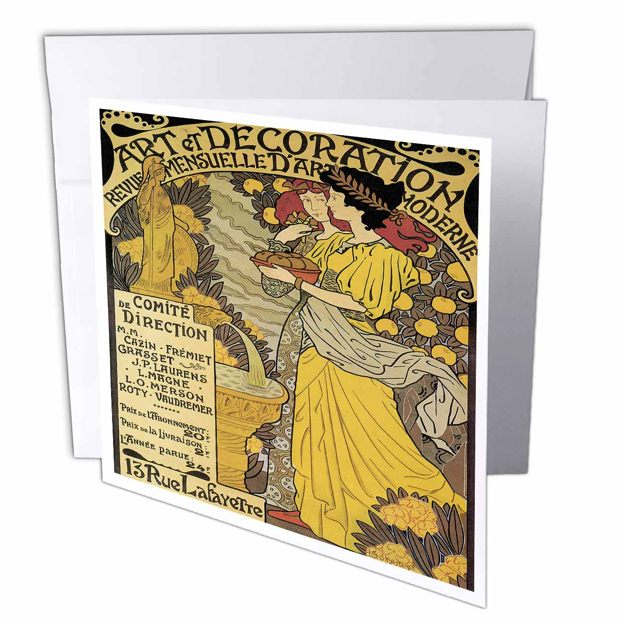 Art Et Decoration 3drose Vintage Art Nouveau Art Et Decoration French Poster Greeting Card 6 X 6 Inches Single