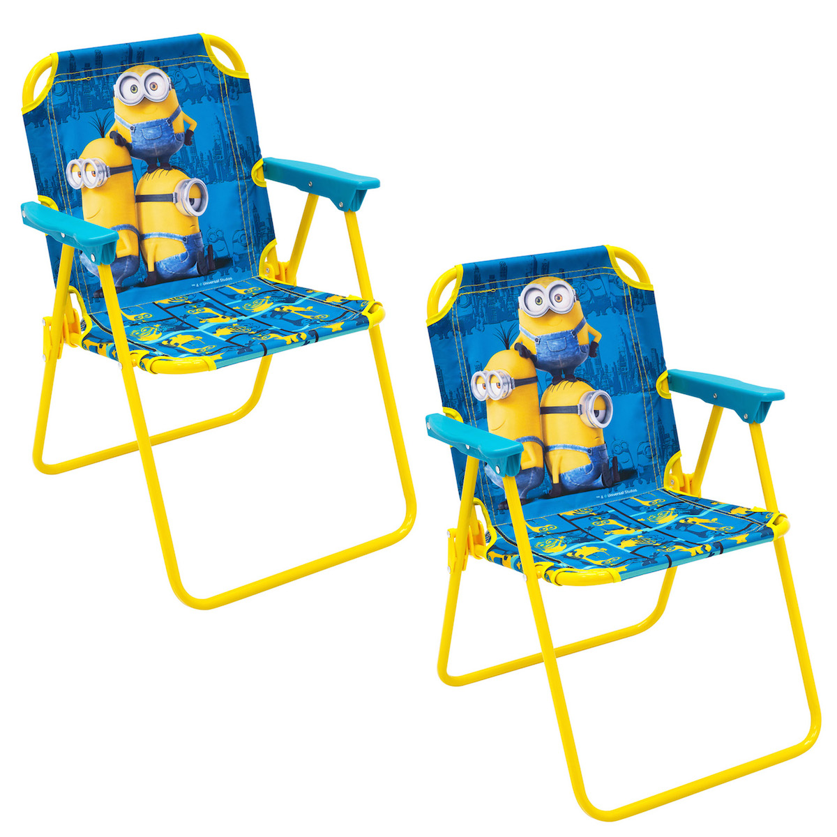 Set Of 2 Minions Folding Patio Lounge Lawn Chair For Kids