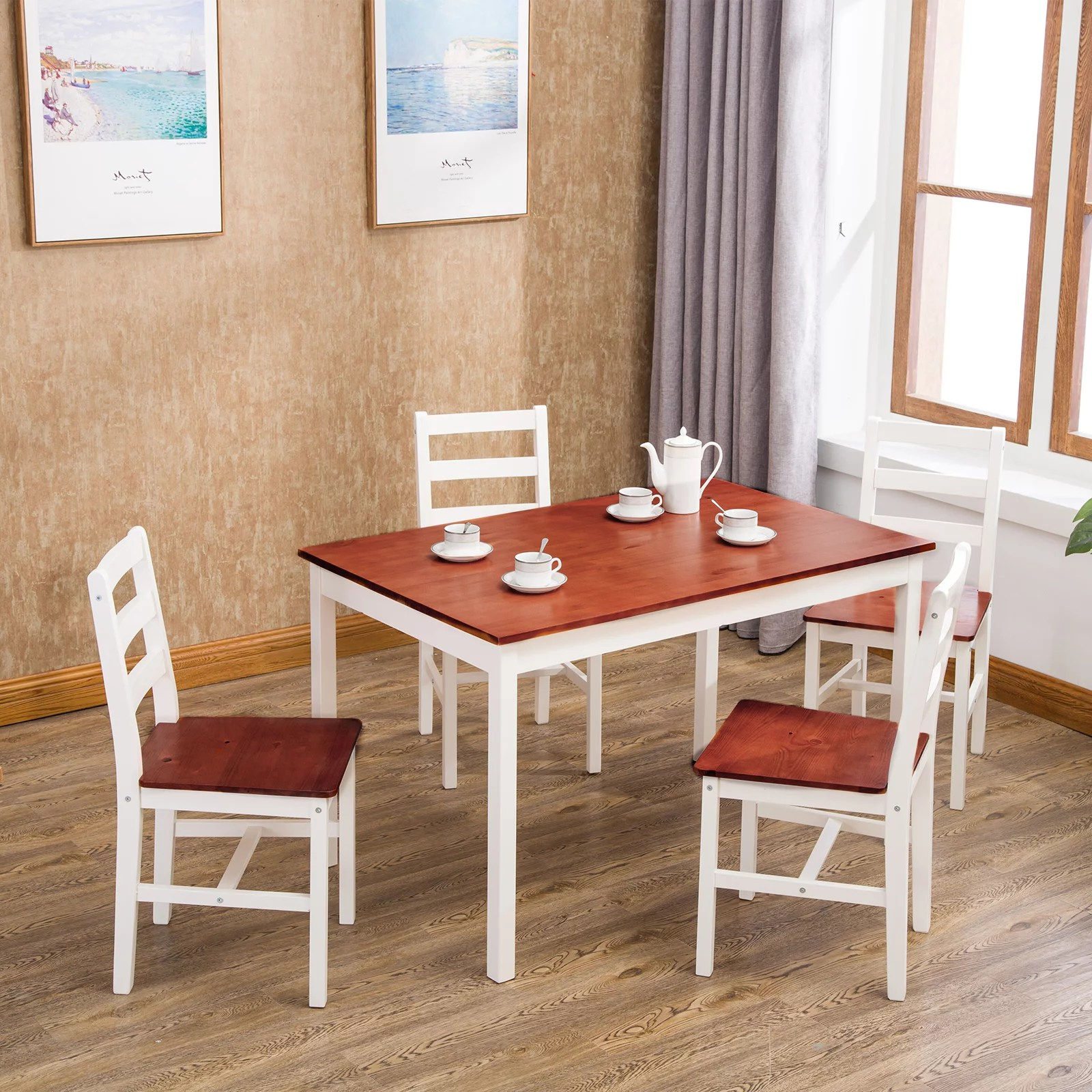 Mecor 5 Piece Dining Table Set 4 Wood Chairs Kitchen Furniture Wood Walmart Com Walmart Com