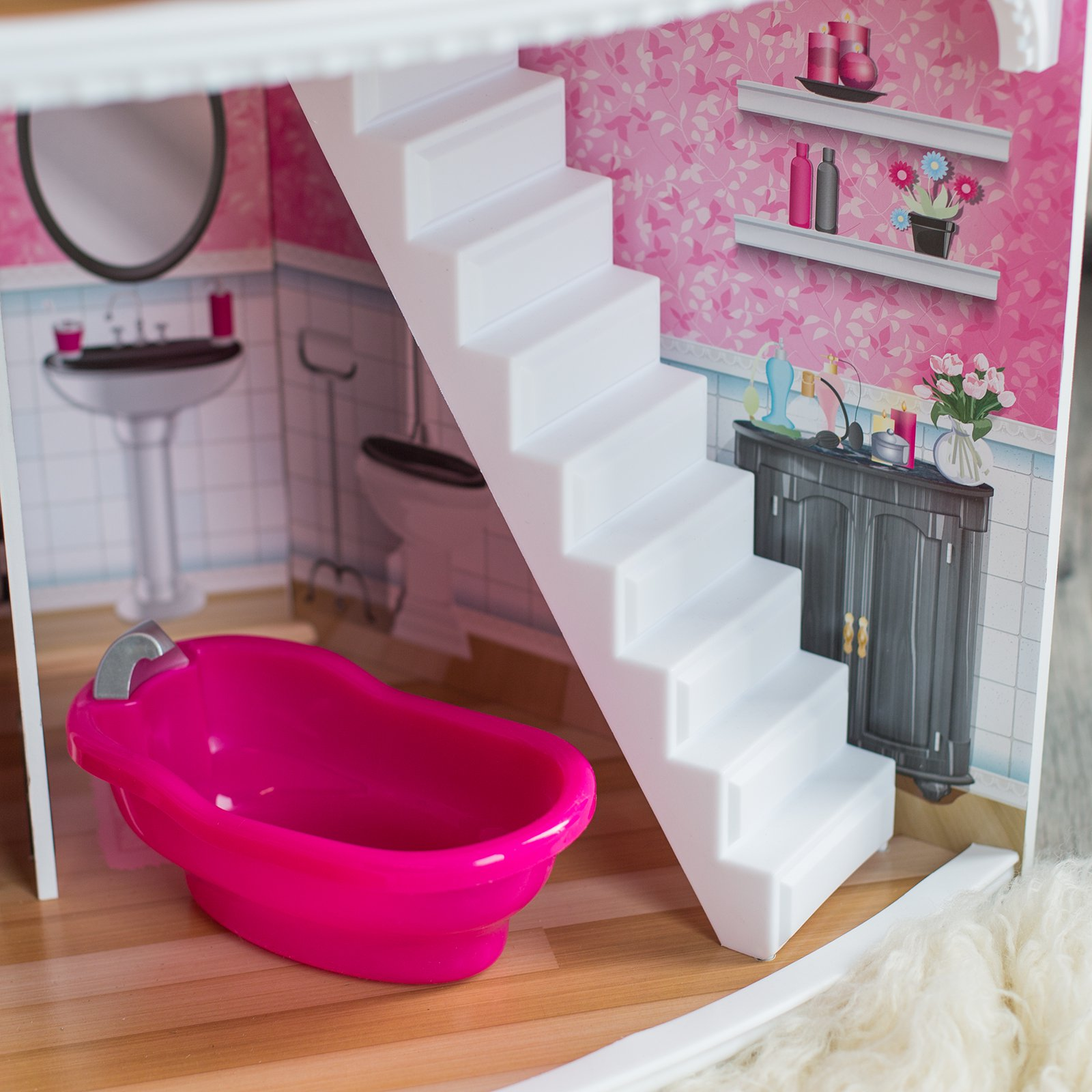 Toddler Dollhouse Pink Dollhouse Corner With Furniture Kids Girls Doll House
