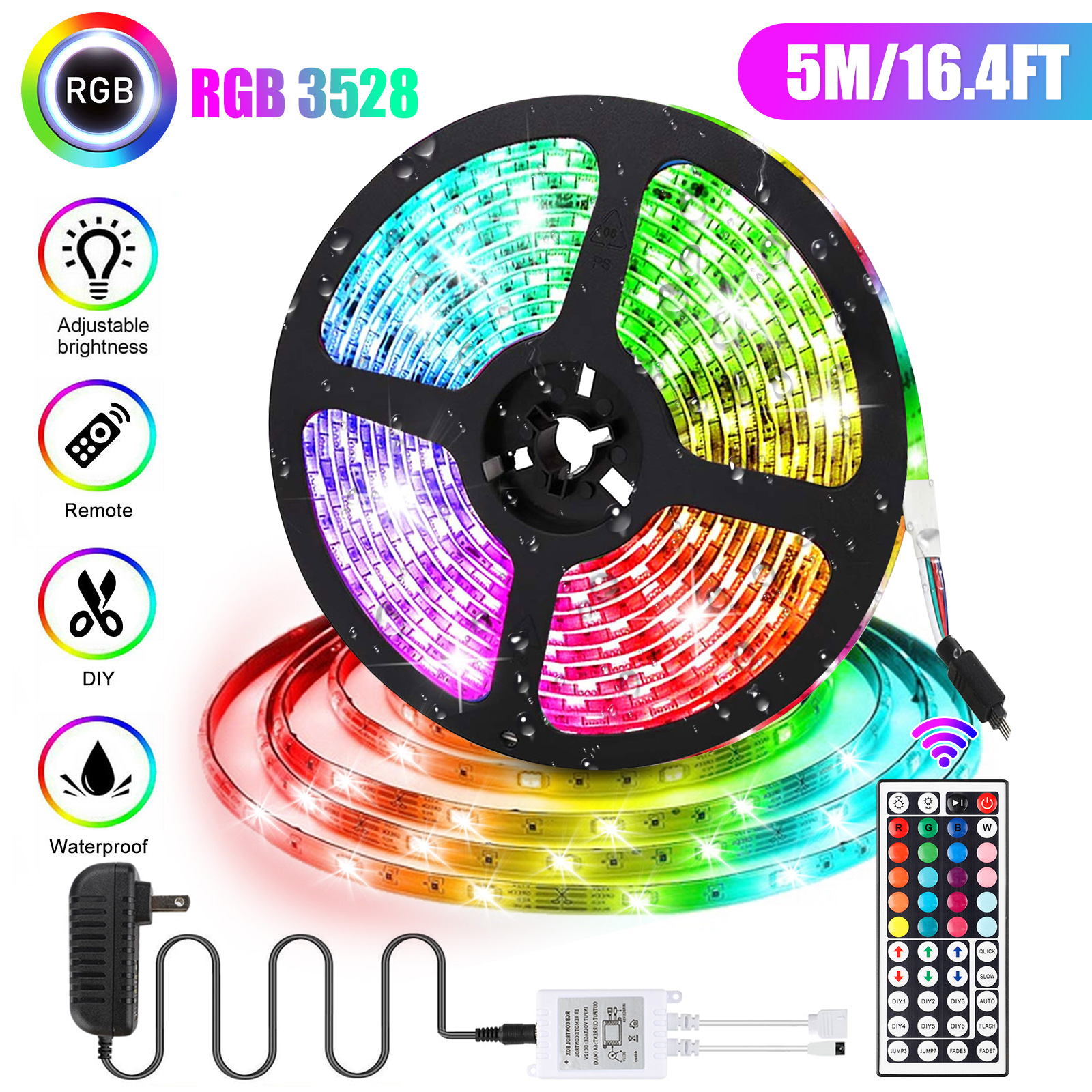 Eeekit 16 4ft 300 Led 3528smd Led Strip Lights Multi Color Changing Led Rope Lights For Bedroom With 44key Remote 12v Dc Power Supply For Home Room Office Decorations Walmart Com Walmart Com