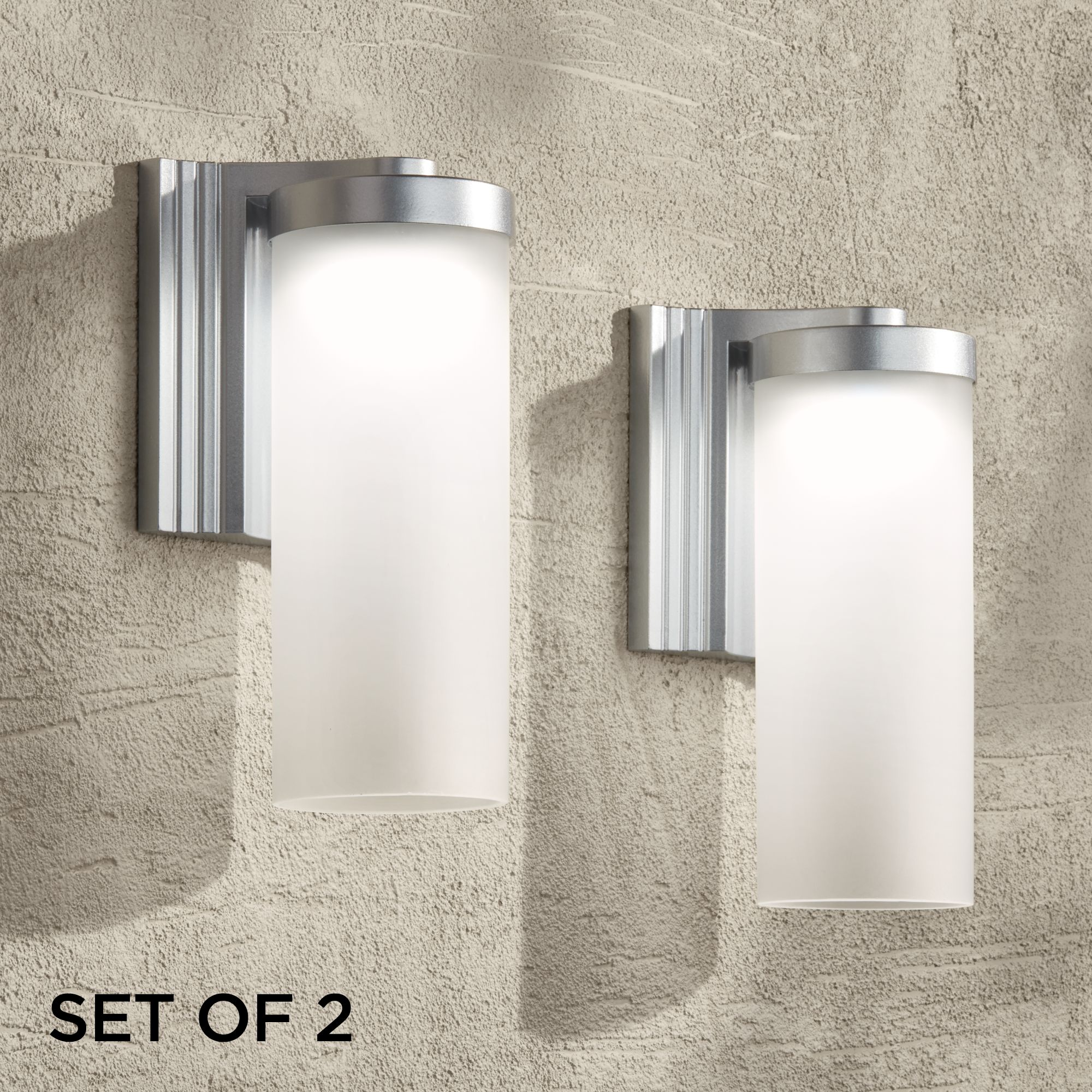 Exterior Led Light Fixtures Possini Euro Design Modern Outdoor Wall Light Fixtures Set Of 2 Led Silver 10 1 2