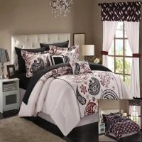 Olivia Paisley Print Beige King 20 Piece Mega Comforter ...