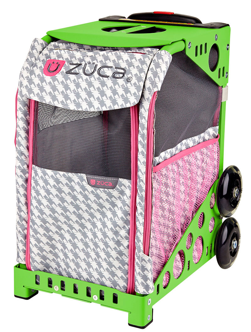 Zuca Pet Carrier Review Zuca Rolling Pet Carrier Houndstooth Pink Bag With Green