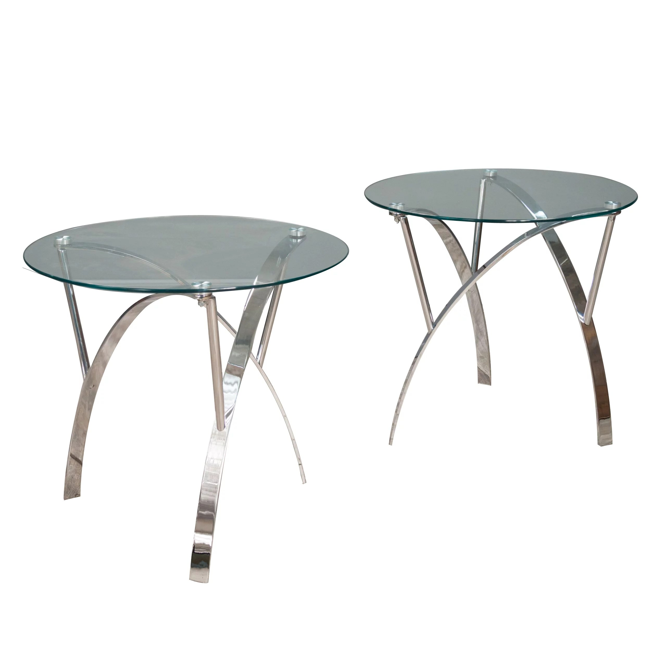 Glass End Tables Set Noble House Turin Round Glass End Table Set Of 2