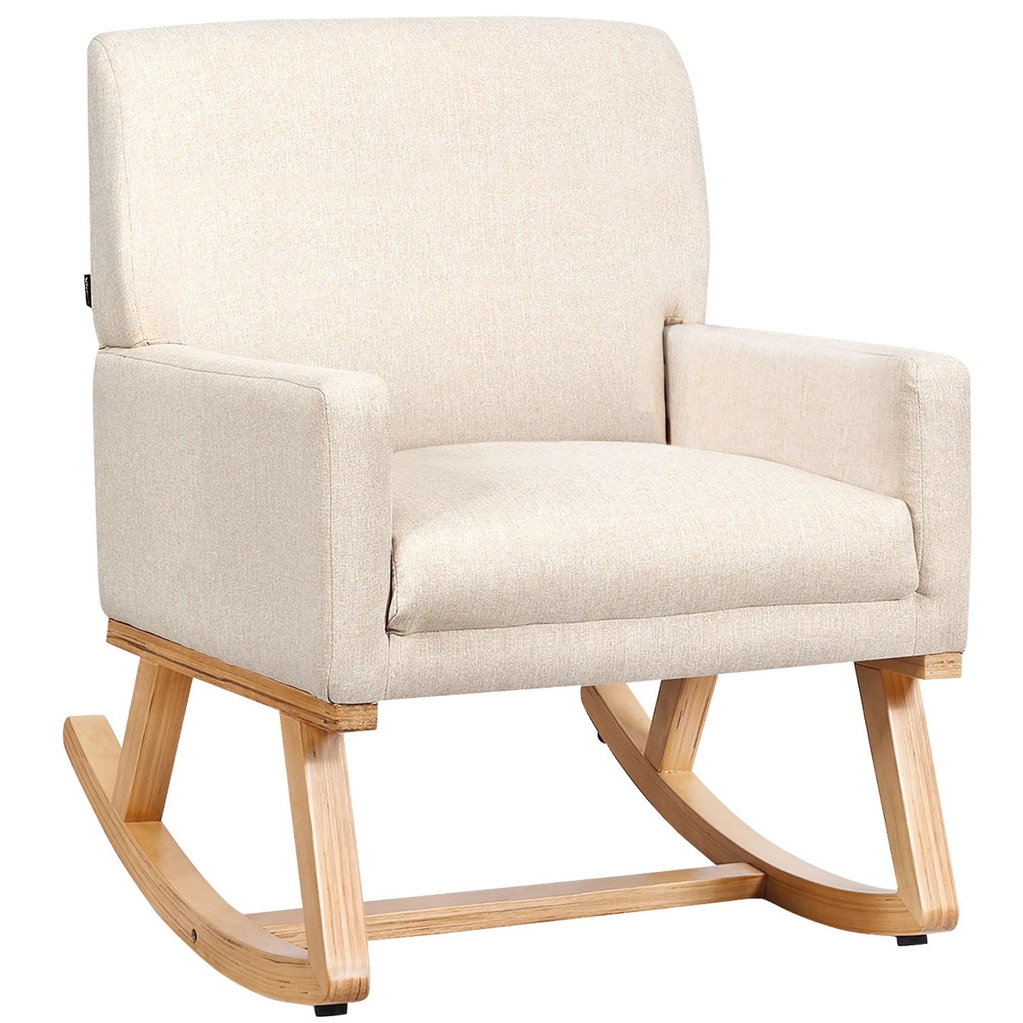Costway Mid Century Fabric Rocking Chair Upholstered Accent Armchair Lounge Chair Beige Walmart Canada