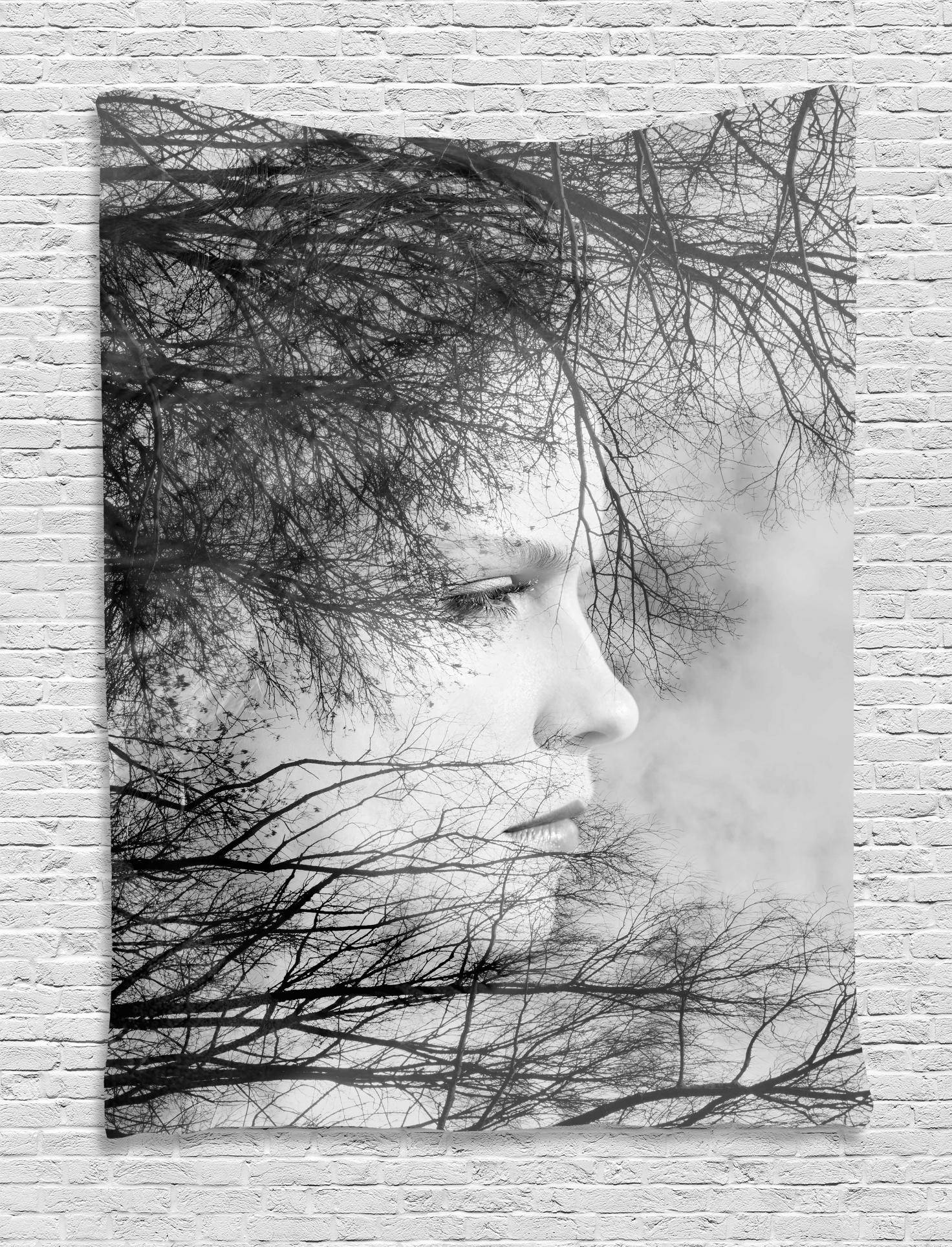 Black And White Artwork For Bedroom Black And White Tapestry Woman Face Among Tree Branches Double Exposure Effect Artistic Print Wall Hanging For Bedroom Living Room Dorm Decor Black