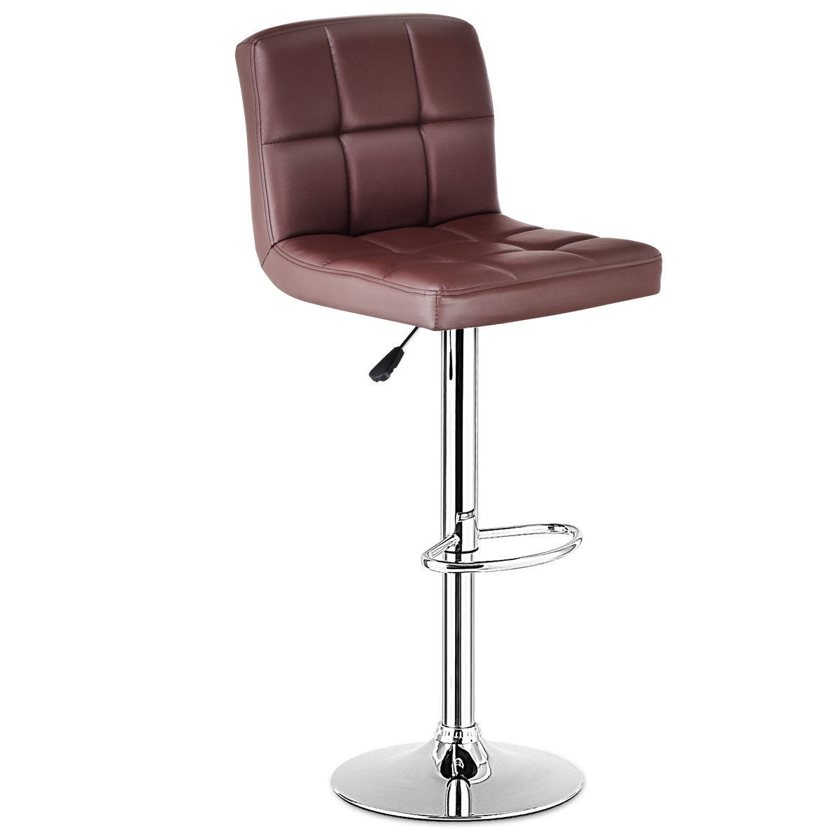 Bar Stool Chairs Costway Set Of 2 Bar Stools Pu Leather Adjustable Barstool Swivel Pub Chairs Brown
