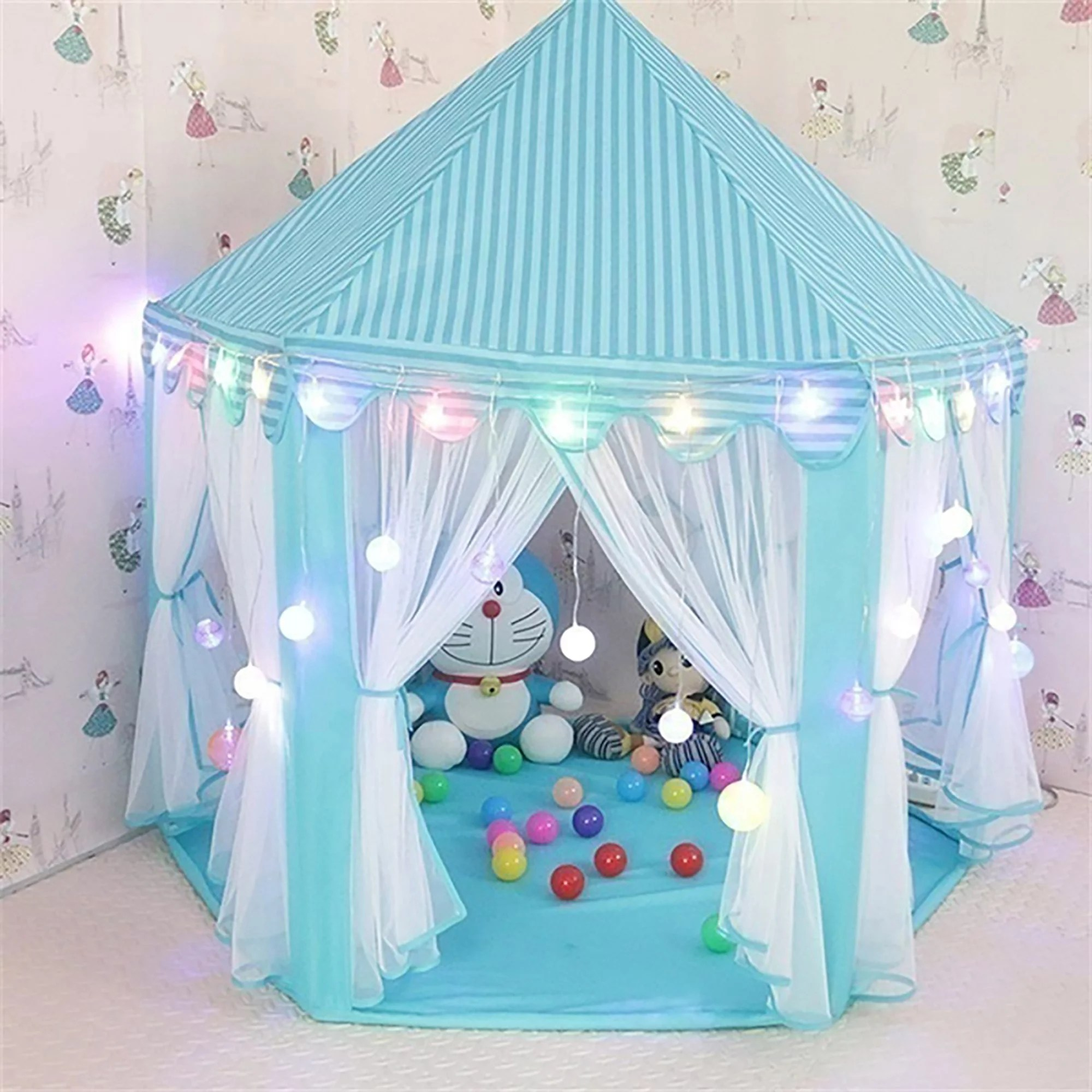 Kids Play Tent Tents For Girls Princess Castle Play House For Child Outdoor Indoor Portable Kids Children Play Tent For Girls Pink Birthday Gift Led Star Lights