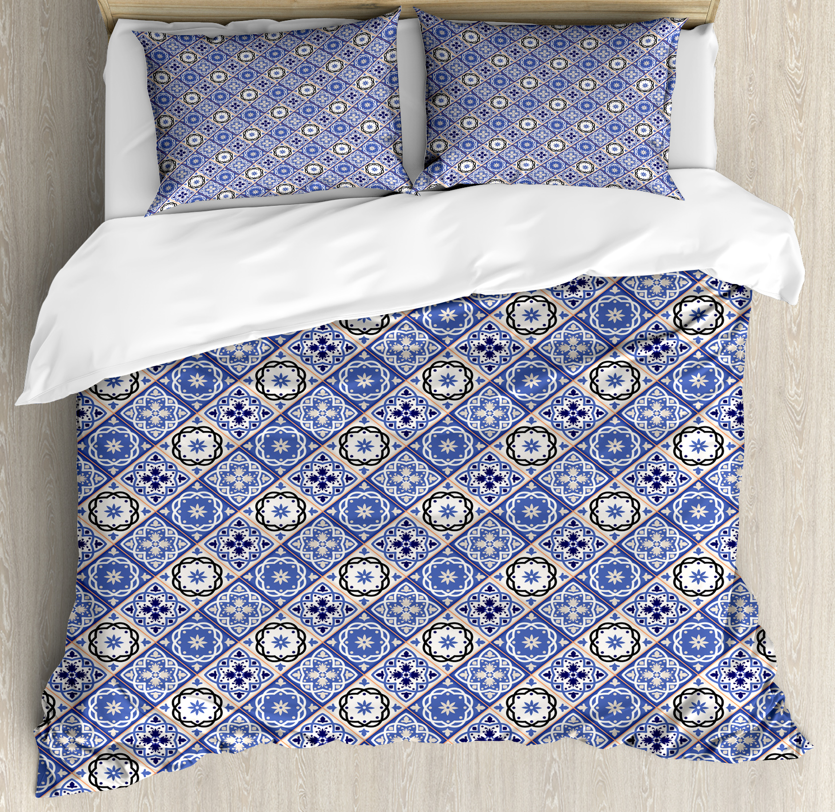 Black And Cream Duvet Sets Moroccan Queen Size Duvet Cover Set Geometric Tile Squares With Middle Eastern Arabesque Azulejo Design Decorative 3 Piece Bedding Set With 2 Pillow
